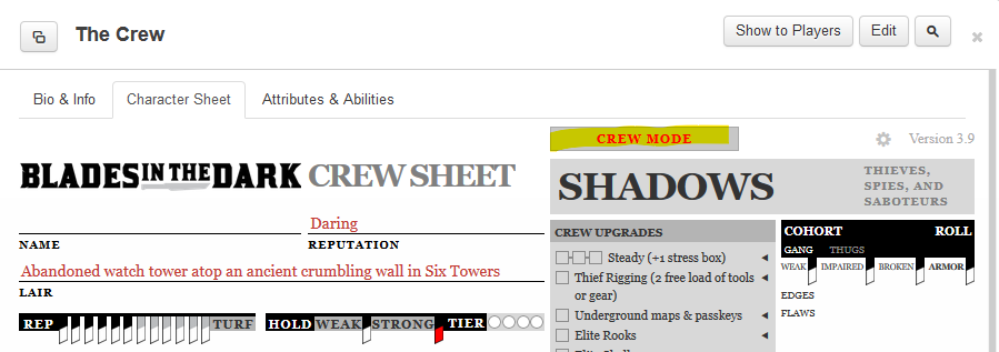 Crew Sheet on Roll20
